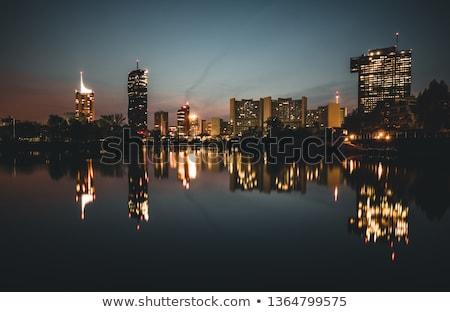 Bécs pénzügyi negyed városkép Duna folyó víz Stock fotó © AndreyKr