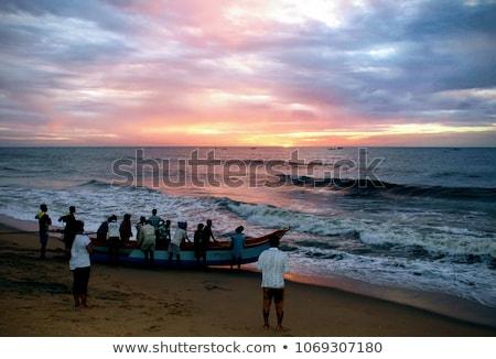 Fishing boats on the beach, Pondicherry, India Stock photo © imagedb