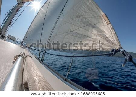 White spindrift of ship on ocean water Stock photo © roboriginal