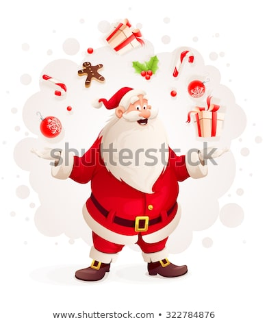 Merry Santa Claus juggles with Christmas gifts and sweets as magician Stock photo © LoopAll