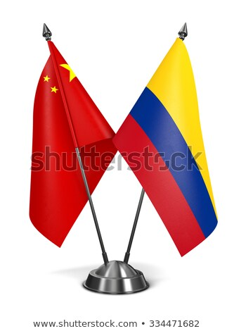 Kína Colombia miniatűr zászlók izolált fehér Stock fotó © tashatuvango