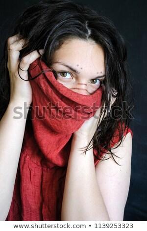 モデル 隠蔽 後ろ 黒 ファブリック 美しい ストックフォト © jrstock