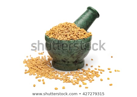 Organic Fenugreek (Trigonella foenum-graecum) in mortar. Stock photo © ziprashantzi