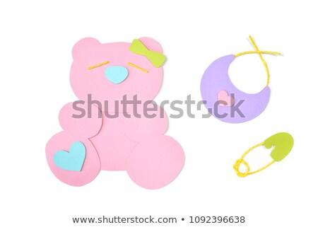 Rózsaszín szív papír kivágás ruházat kép valentin nap Stock fotó © vlad_star