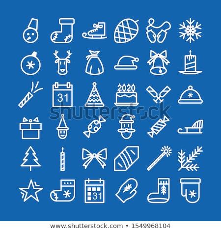 ilustração · natal · cartão · velas · árvore · de · natal · lareira - foto stock © beholdereye