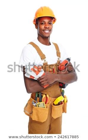 Stockfoto: Afro-amerikaanse · klusjesman · loodgieter · sleutel · gelukkig · gebouw