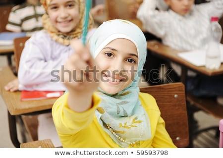 iskola · smink · tanár · segít · diákok · képzés - stock fotó © zurijeta