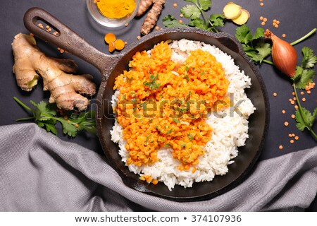 red lentils and rice in pan Stock photo © M-studio