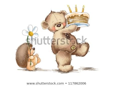 Kinderachtig teddybeer vector formaat gelukkig Stockfoto © balasoiu