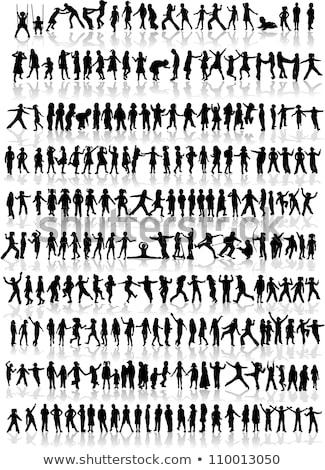 jongens · lopen · sjabloon · witte · gezicht · ontwerp - stockfoto © bluering
