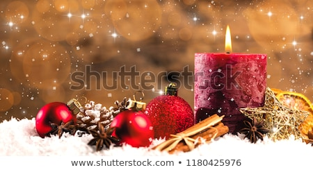 Karácsony dekoráció gyertya izolált fa terv Stock fotó © Lana_M