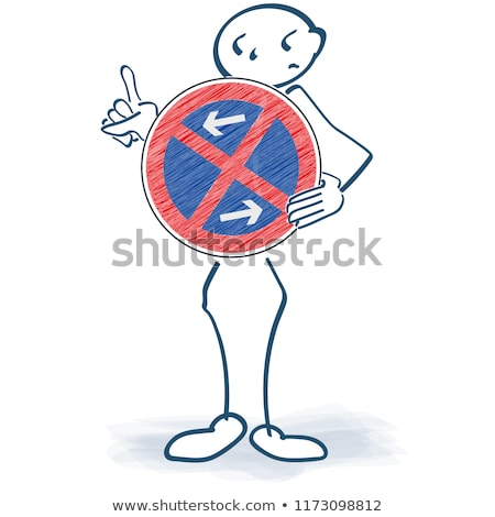 Stick figure holding a prohibition sign in front of the body and absolute no parking Stock photo © Ustofre9