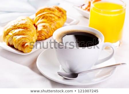 kávéscsésze · croissant · narancslé · fa · kávé - stock fotó © m-studio