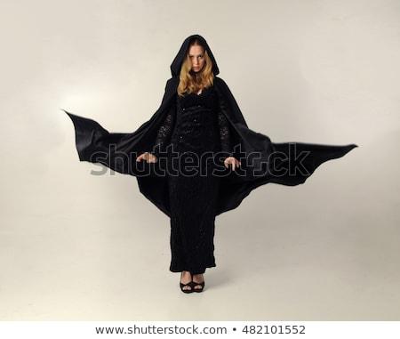 bella · modello · vestito · nero · posa · grigio - foto d'archivio © bartekwardziak