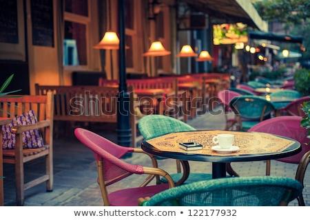 Stockfoto: Lege · zomer · terras · stad · cafe · straat