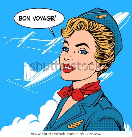 レトロな 漫画 スチュワーデス 作業 芸術 飛行機 ストックフォト © kariiika