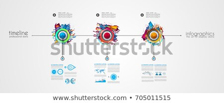 timeline template with glossy effect step numbers and small icon stock photo © davidarts