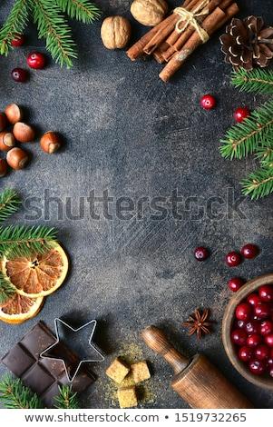 ingrédients · Noël · espace · de · copie · beige · coeur - photo stock © yelenayemchuk
