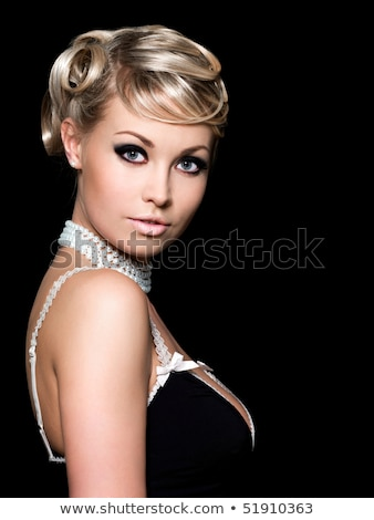 Close-up of beautiful young woman with beads on face  Stock photo © julenochek
