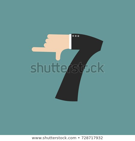 number 7 letter businessman hand font. It shows finger print. Ar Stock photo © popaukropa