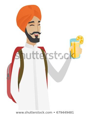 Podróżnik człowiek pitnej koktajl uśmiechnięty Zdjęcia stock © RAStudio