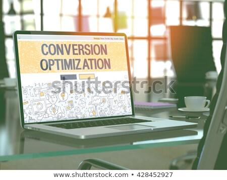 Optimalisatie laptop scherm 3D landing Stockfoto © tashatuvango