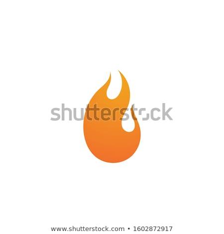 Fuego llama 3D rojo icono blanco Foto stock © Ecelop