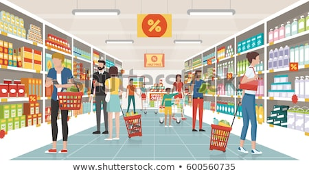 People shopping at supermarket banners stock photo © studioworkstock