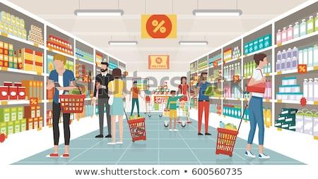pessoas · compras · supermercado · banners · varejo · caixa - foto stock © studioworkstock