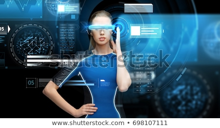 женщину виртуальный реальность 3d очки черный науки Сток-фото © dolgachov