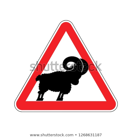 attention of sheep caution farm is an animal red prohibitory r stock photo © popaukropa