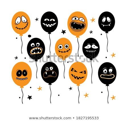 Korkmuş siyah beyaz balon karikatür maskot karakter yalıtılmış Stok fotoğraf © hittoon
