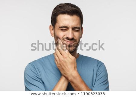 Uomo mal di denti uomo bianco bianco illustrazione sfondo Foto d'archivio © bluering