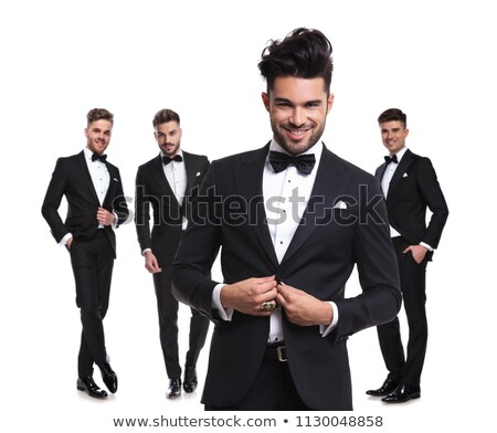 portrait of relaxed man unbuttoning his tuxedo black suit Stock photo © feedough
