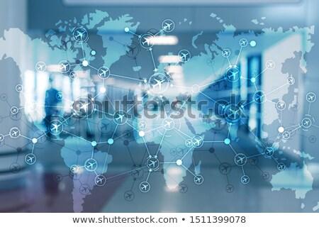 Global aviação instruções em torno de mundo misto Foto stock © alexaldo