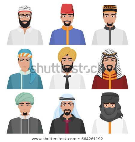 Different middle eastern people avatar set vector flat icons ara Stock photo © NikoDzhi