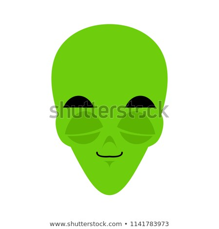 UFO sleeping Emoji. Green alien face asleep emotion. martian ava Stock photo © popaukropa