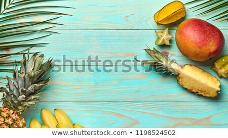 ストックフォト: 食品 · フレーム · 異なる · 熱帯 · 果物 · 手のひら