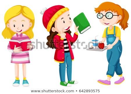 Stock fotó: Három · gyerekek · különböző · tevékenységek · illusztráció · gyermek