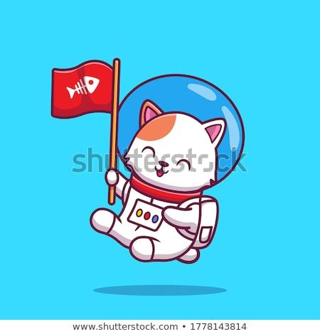 Cartoon Smiling Spaceman Kitten Stock photo © cthoman