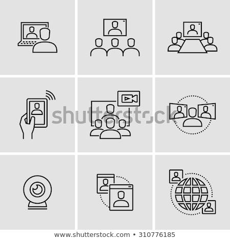 Zakelijke bijeenkomst kamer netwerk lijnen verdubbelen blootstelling Stockfoto © alphaspirit