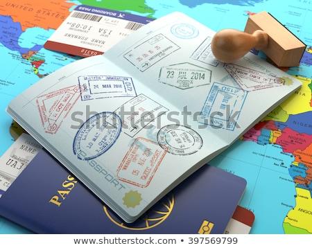 Passaporto timbro mappa illustrazione sfondo aereo Foto d'archivio © bluering