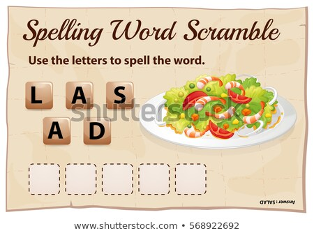 Spelling word scramble game template with word salad Stock photo © colematt