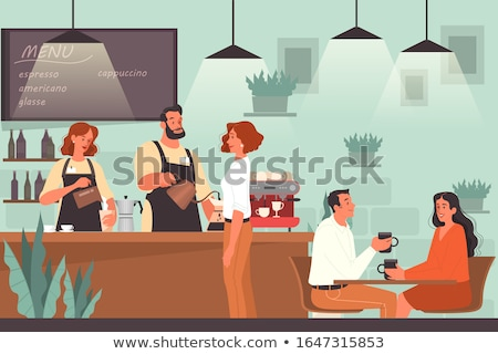 Couple in a bar - cartoon people characters illustration Stock photo © Decorwithme