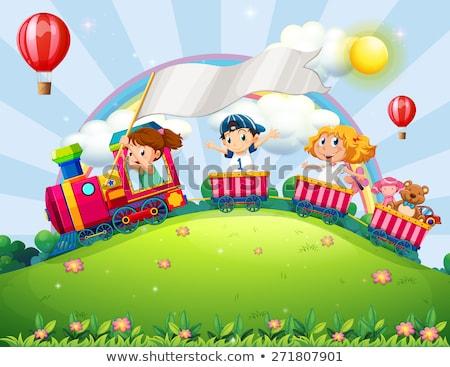 Scène kinderen trein illustratie kinderen landschap Stockfoto © colematt