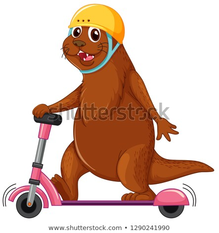 Otter playing kick scooter Stock photo © colematt