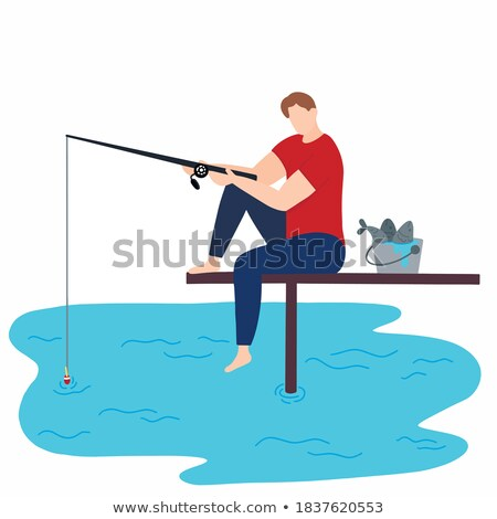 Fishing Person with Long Rod Vector Illustration Stock photo © robuart