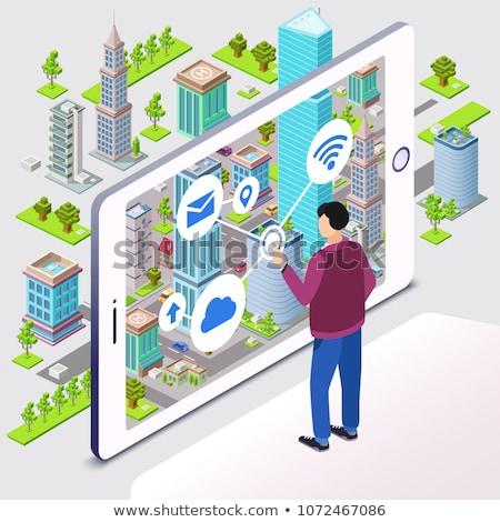 城市 導航 應用程序 智能 插圖 男子 商業照片 © RAStudio