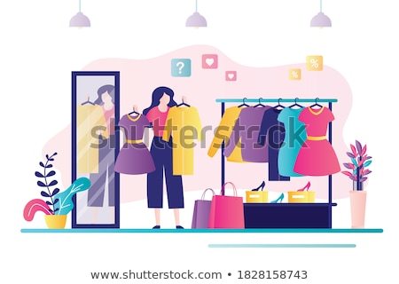Female Shopaholic Wearing Dress in Store Vector Stock photo © robuart