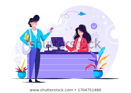 Supermarket Cashier and Client in Shop Vector Stock photo © robuart
